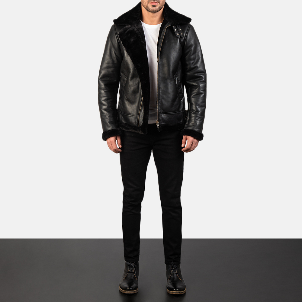 Francis Black Leather Bomber Jacket for Men