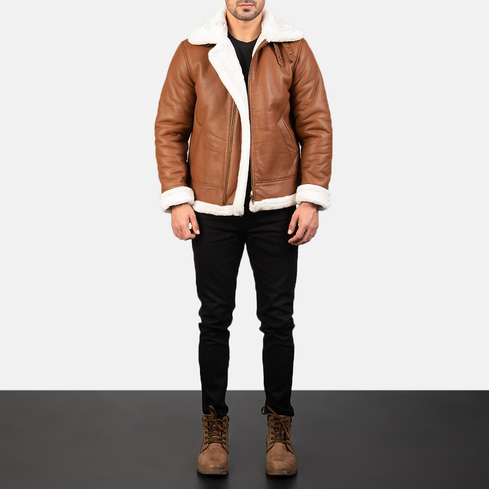 Francis Brown Leather Bomber Jacket for Mens