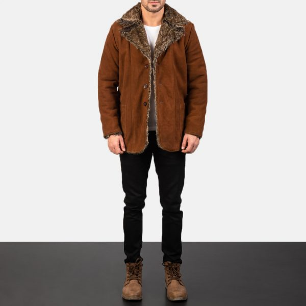 Furlong Brown Leather Coat for Men
