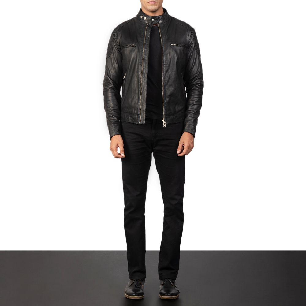 Gatsby Black Leather cloth Biker Jacket