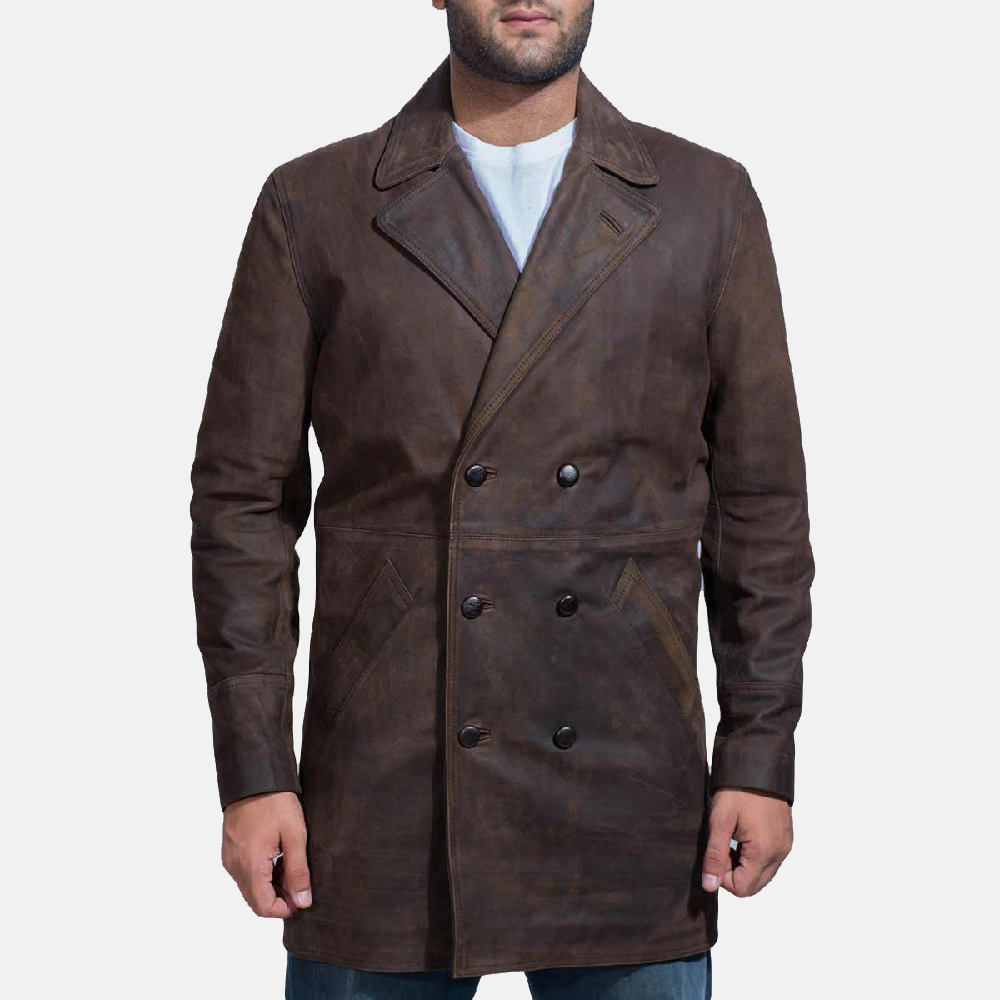 Half Life Brown Leather Coat for Men