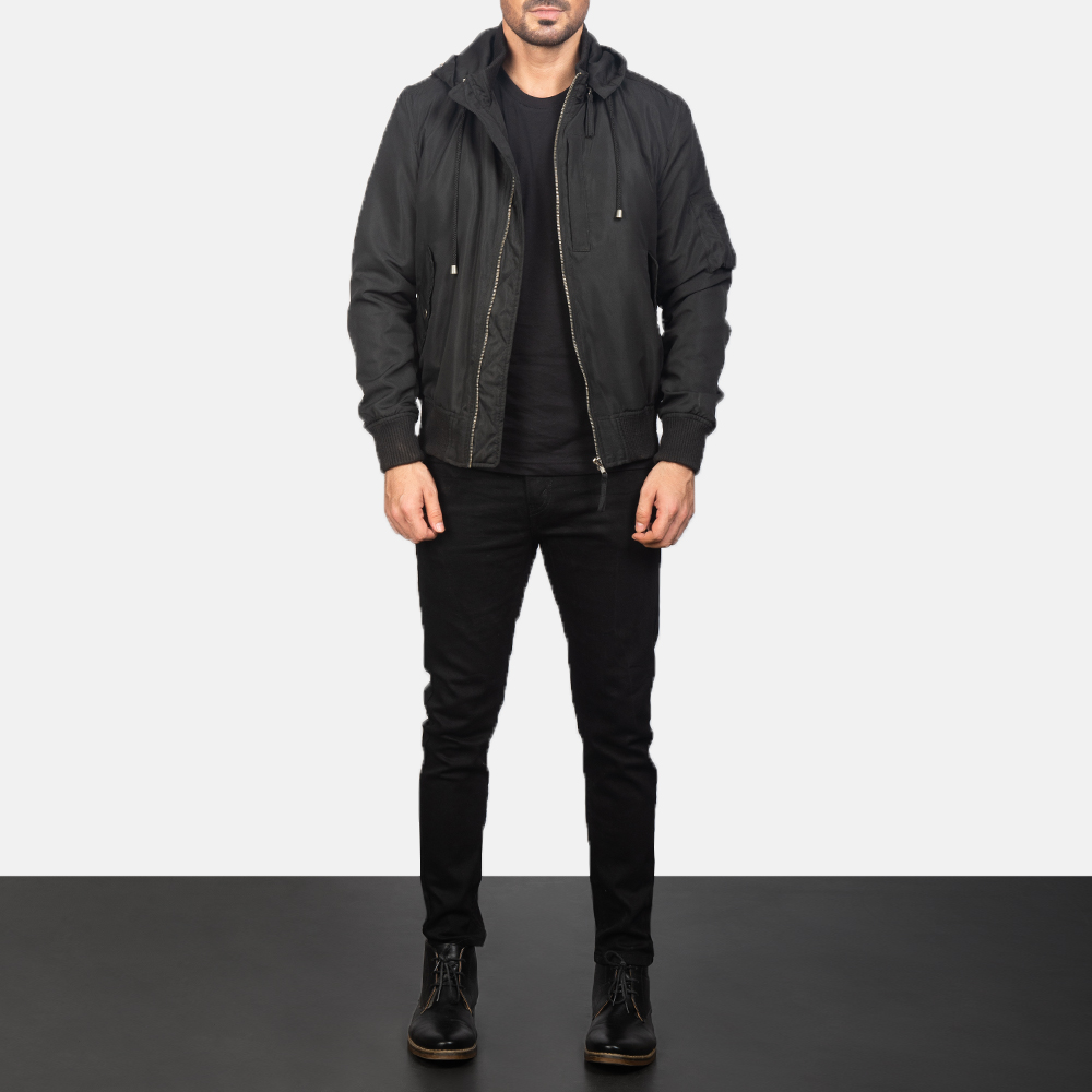 Hanklin Ma-1 Black Hooded Bomber Jacket for Men