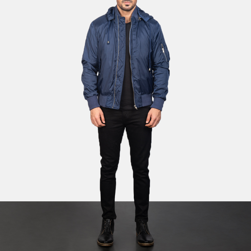 Hanklin Ma-1 Blue Hooded Bomber Jacket for Men