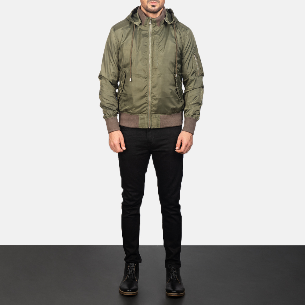Hanklin Ma-1 Green Hooded Bomber Jacket for Men