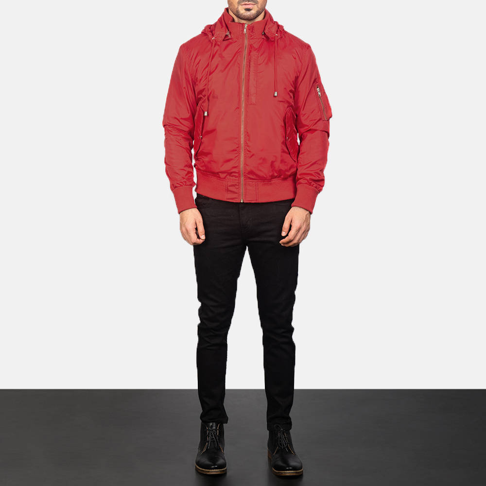 Hanklin Ma-1 Red Hooded Bomber Jacket For Men