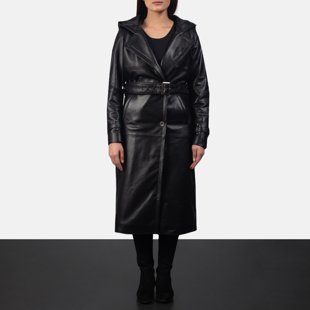 Hooded Black Trench Coat for Women