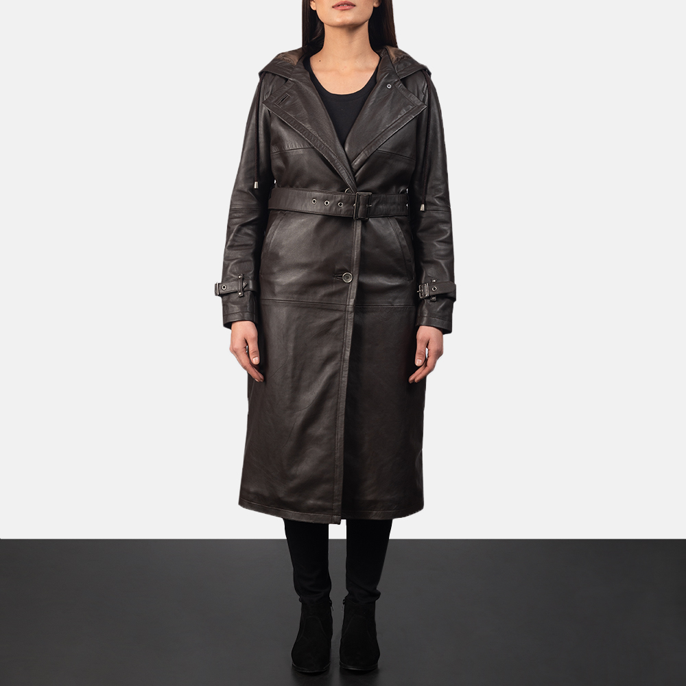 Hooded Brown Trench Coat for Women