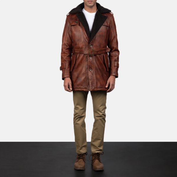Hunter Distressed Brown Fur Leather Coat for Men