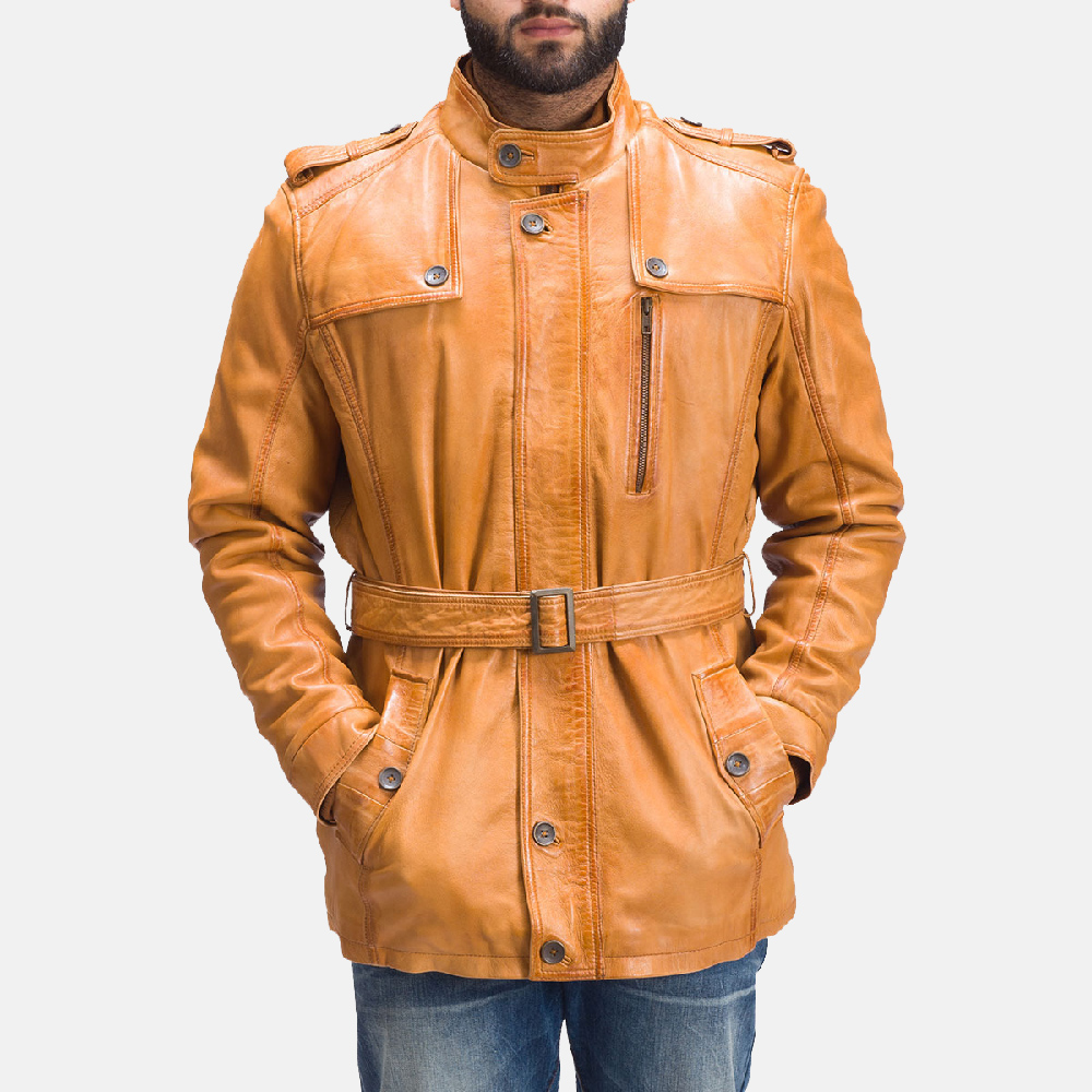 Hunter Tan Brown Fur Leather Jacket for Men