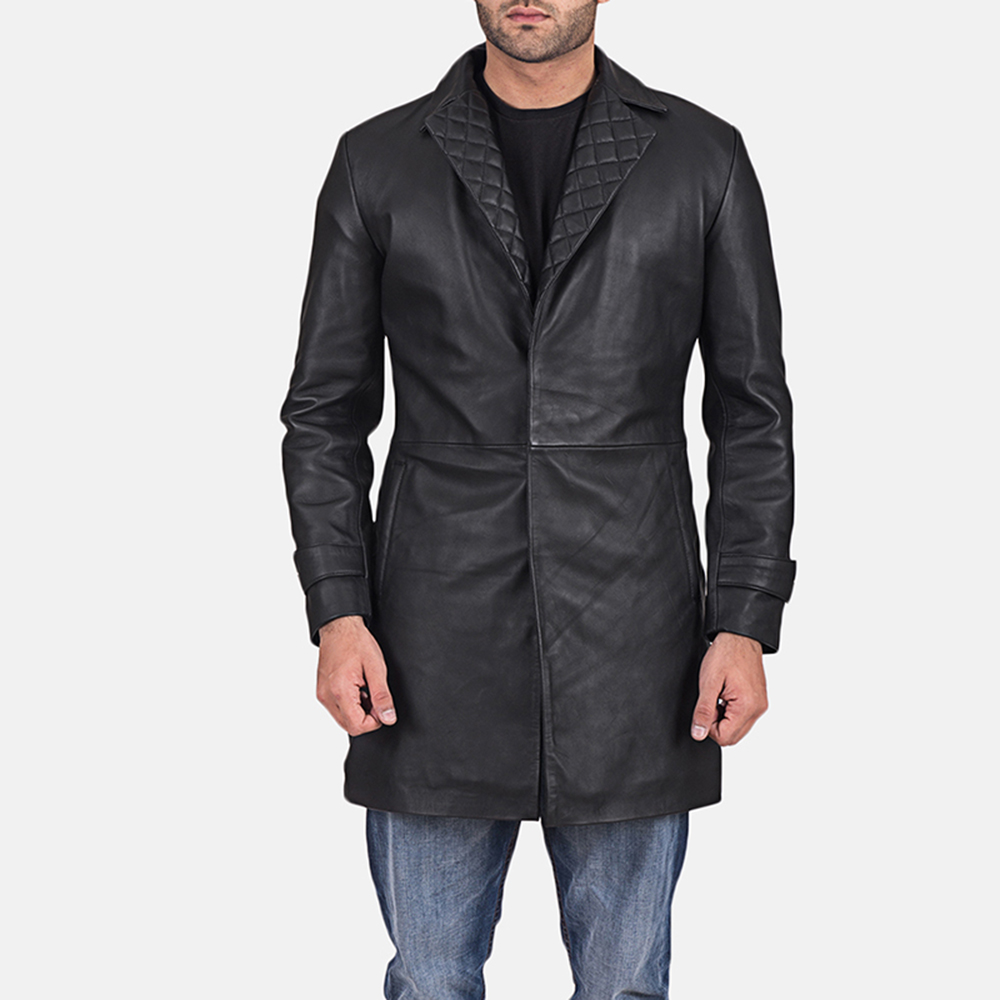 Infinity Black Leather Coat for Men