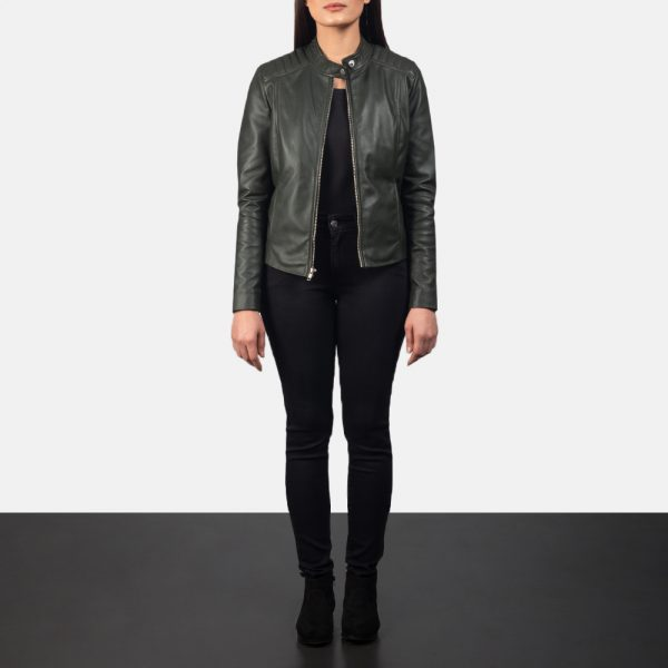 Kelsee Green Leather Biker Jacket for Women