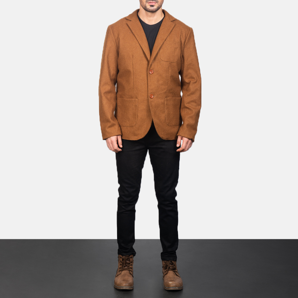 Khaki Leather Blazer for Men