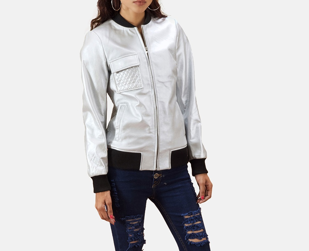 Lana Silver Leather Bomber Jacket for Women