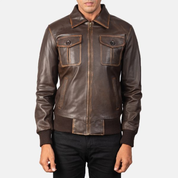 latest Aaron Brown Leather Bomber Jacket for Men