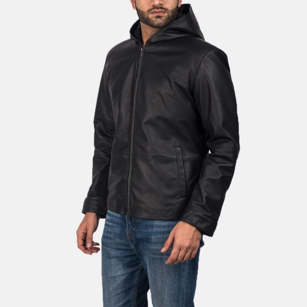 Latest Andy Matte Black Hooded Leather Jacket For Men