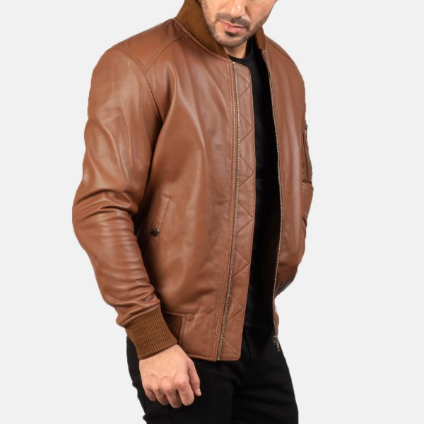 Latest Bomia Ma-1 Brown Leather Bomber Jacket for Men