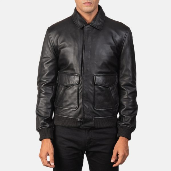 Latest Coffmen Black Leather Bomber Jacket for Men