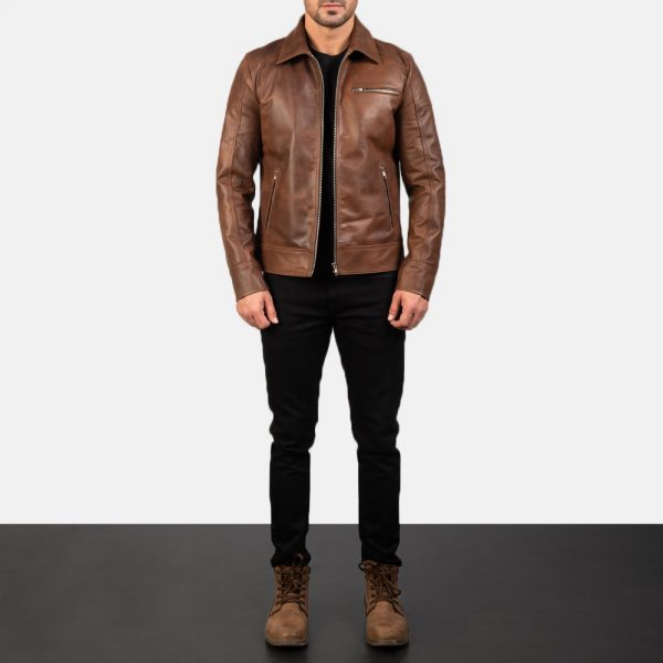 Best Lavendard Brown Leather Biker Jacket for Men