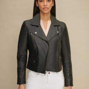 Leather Jacket with Shoulder Quilt Detail for Women