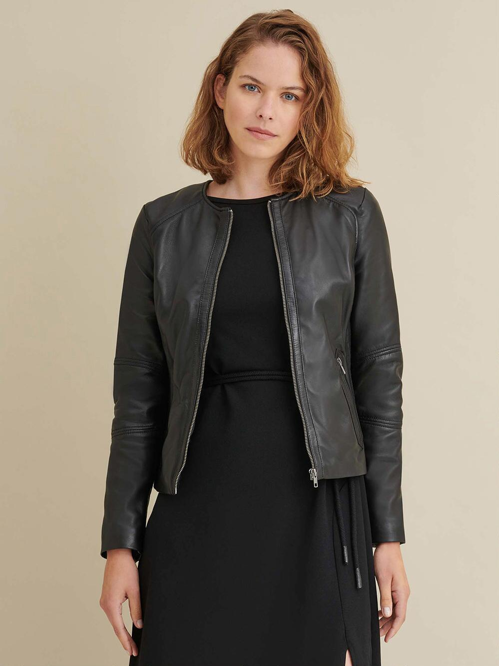 Leather Jacket with Side Stitching for Womens