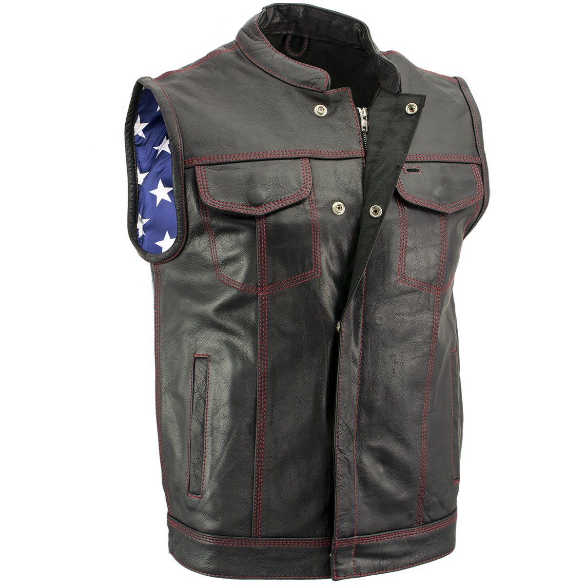 Leather Vest with Red Stitching Jacket for Men