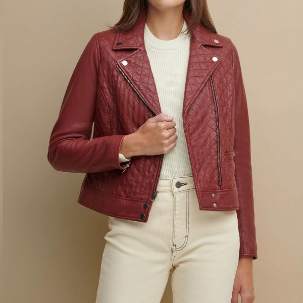 Maroon Leather Jacket for Women