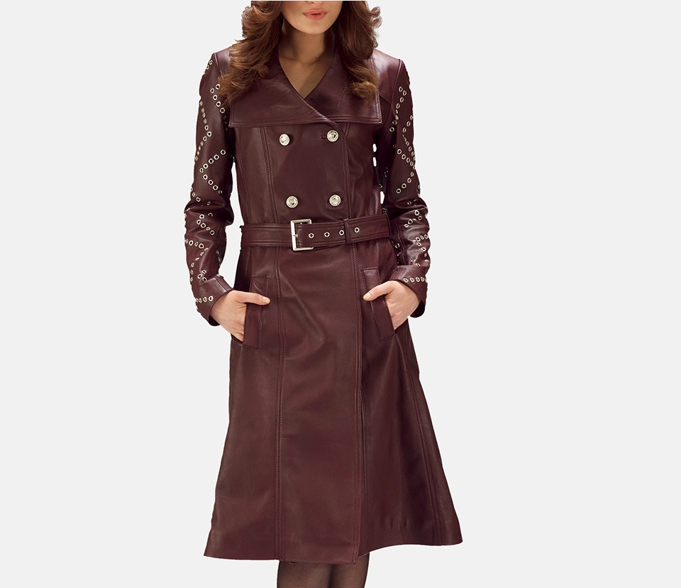Maroon Leather Trench Coat for Women