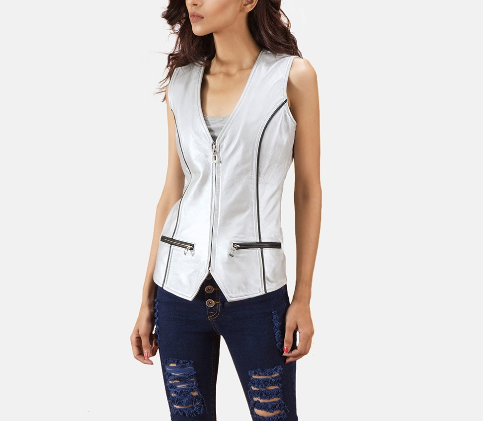 Metallic Silver Leather Vest for Women