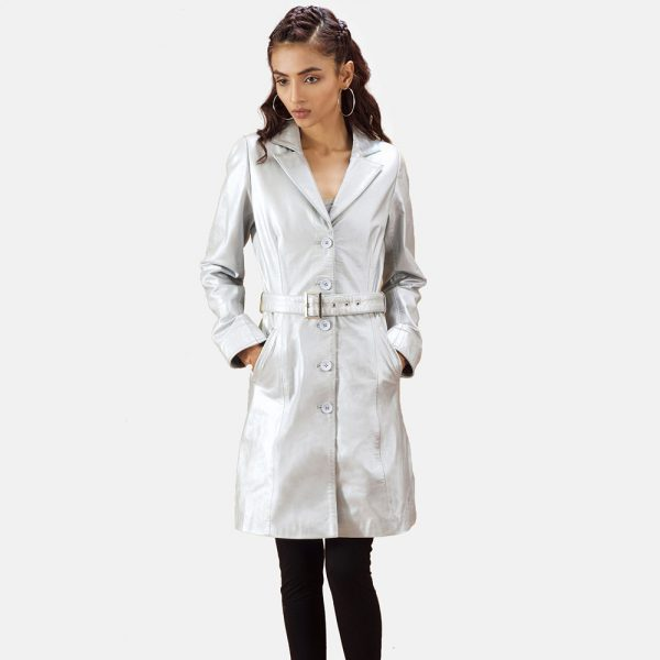 Moonlight Silver Leather Trench Coat for Women