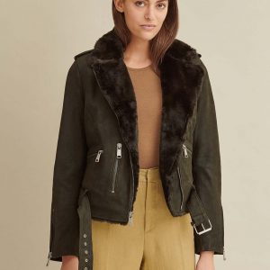 Moto Leather Jacket with Faux Fur for Women
