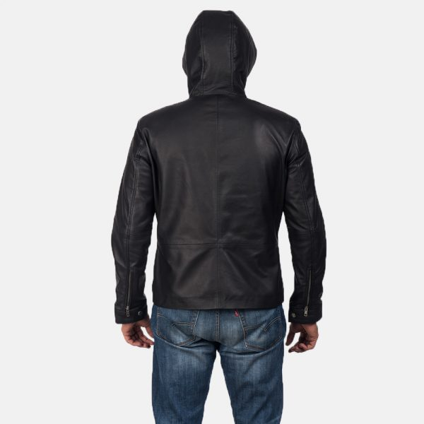 New Andy Matte Black Hooded Leather Jacket For Men