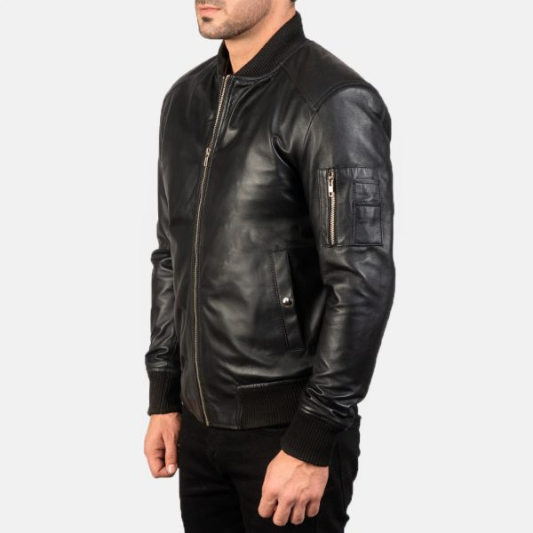 New Bomia Ma-1 Black Leather Bomber Jacket for Men