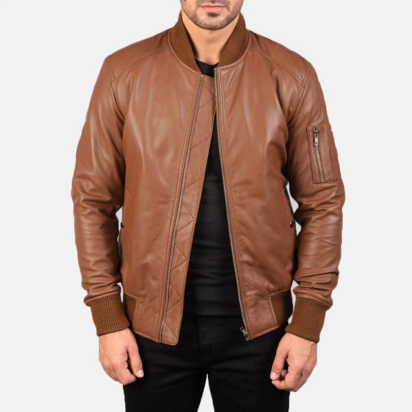New Bomia Ma-1 Brown Leather Bomber Jacket for Men