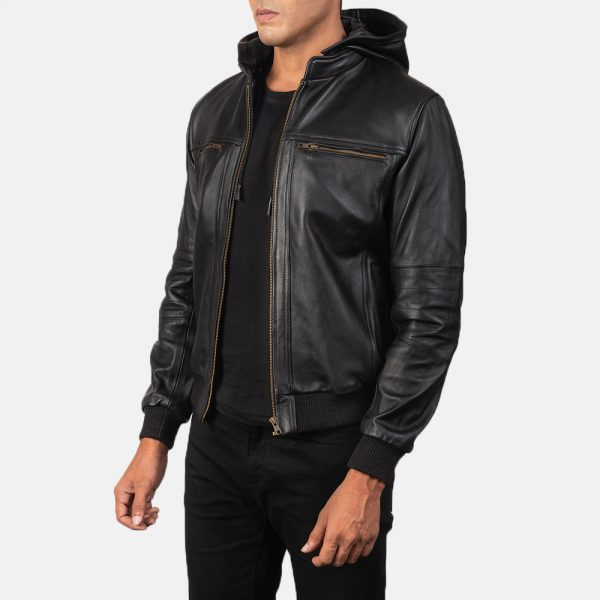 New Bouncer Biz Black Leather Bomber Jacket for Men