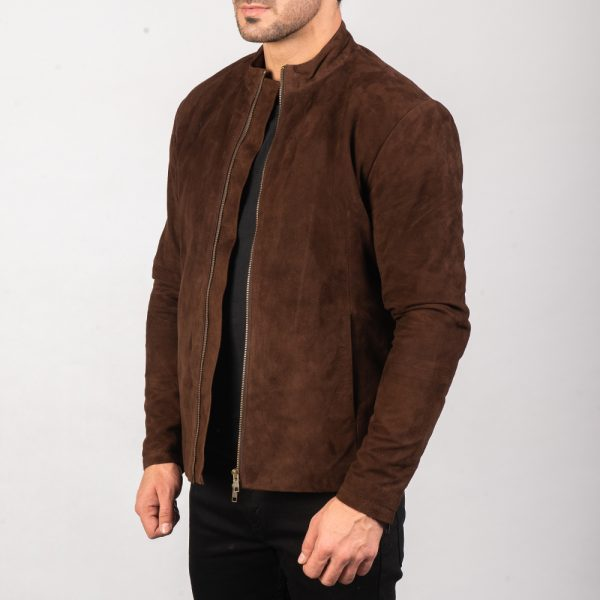 New Charcoal Mocha Suede Biker Jacket for Men