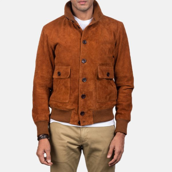 New Eaton Brown Suede Bomber Jacket for Men
