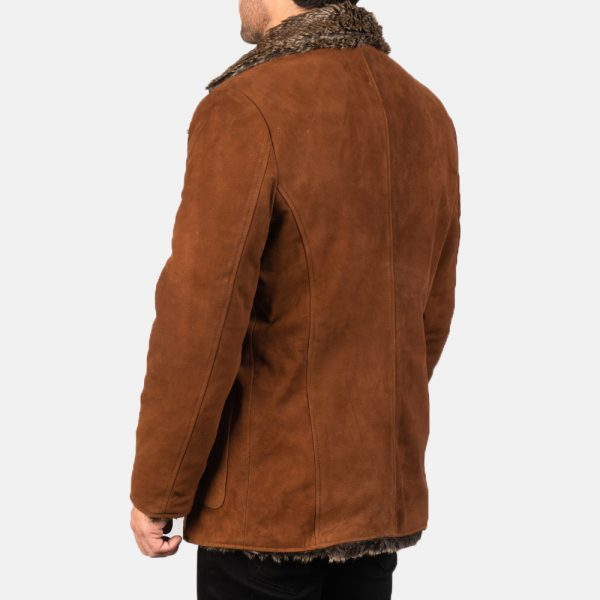 latest Furlong Brown Leather Coat for Men