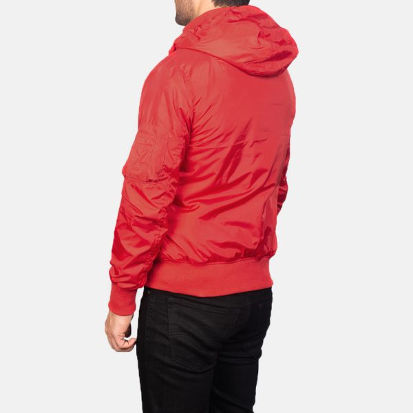 New Hanklin Ma-1 Red Hooded Bomber Jacket For Men