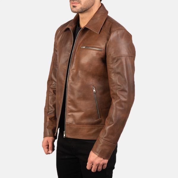 New Lavendard Brown Leather Biker Jacket for Men