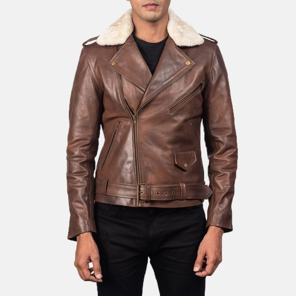 New Men's Furton Brown Leather Biker Jacket