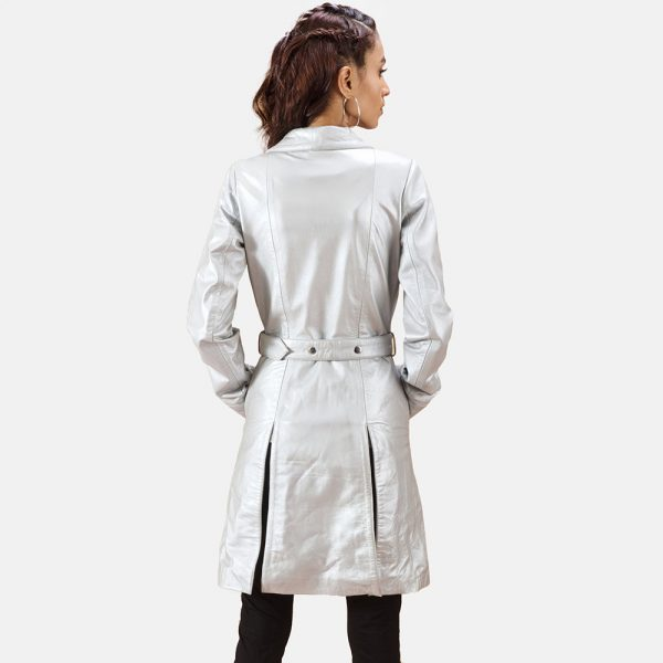 new Moonlight Silver Leather Trench Coat for Women