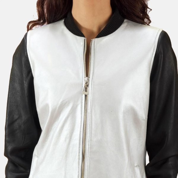 new Silver Leather Bomber Jacket for Women