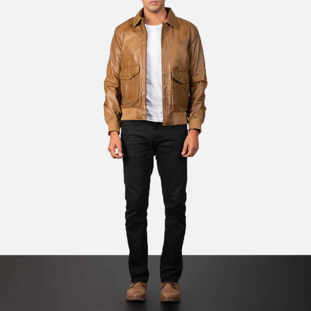 Olive Brown Leather Bomber Jacket