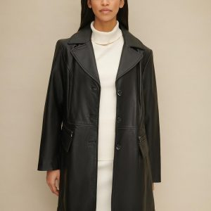 Plus Size Button Front Leather Trench for Women
