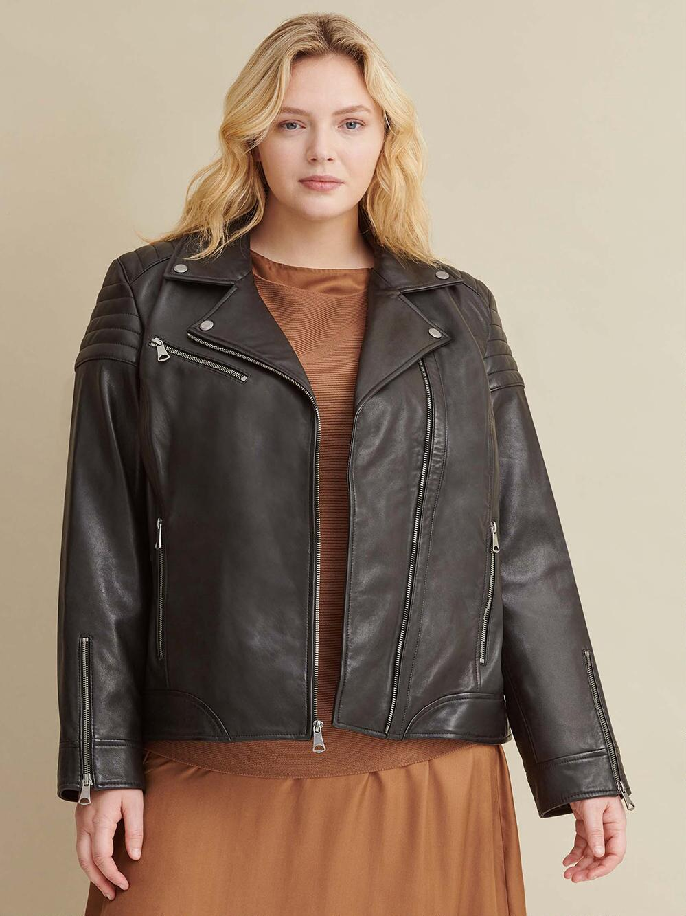 Plus Size Leather Jacket for Women