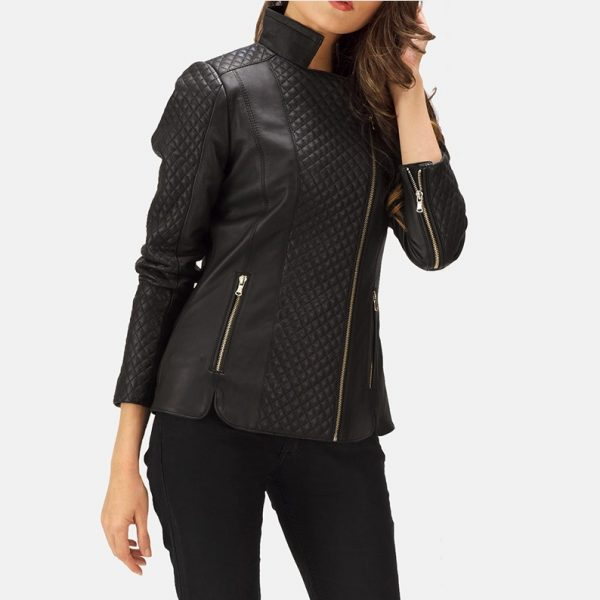 Quilted Black Leather Biker Jacket for Women