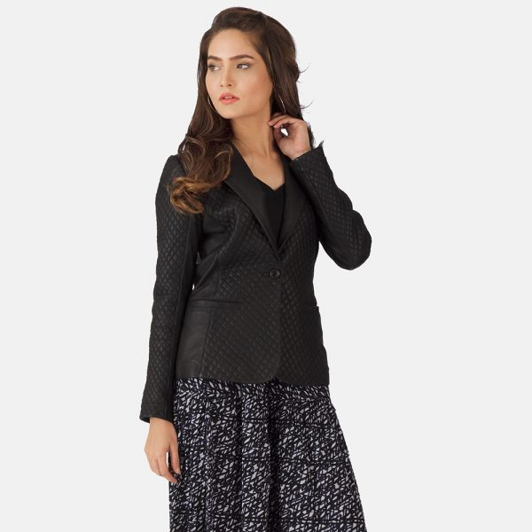 Quilted Black Leather Blazer for Women