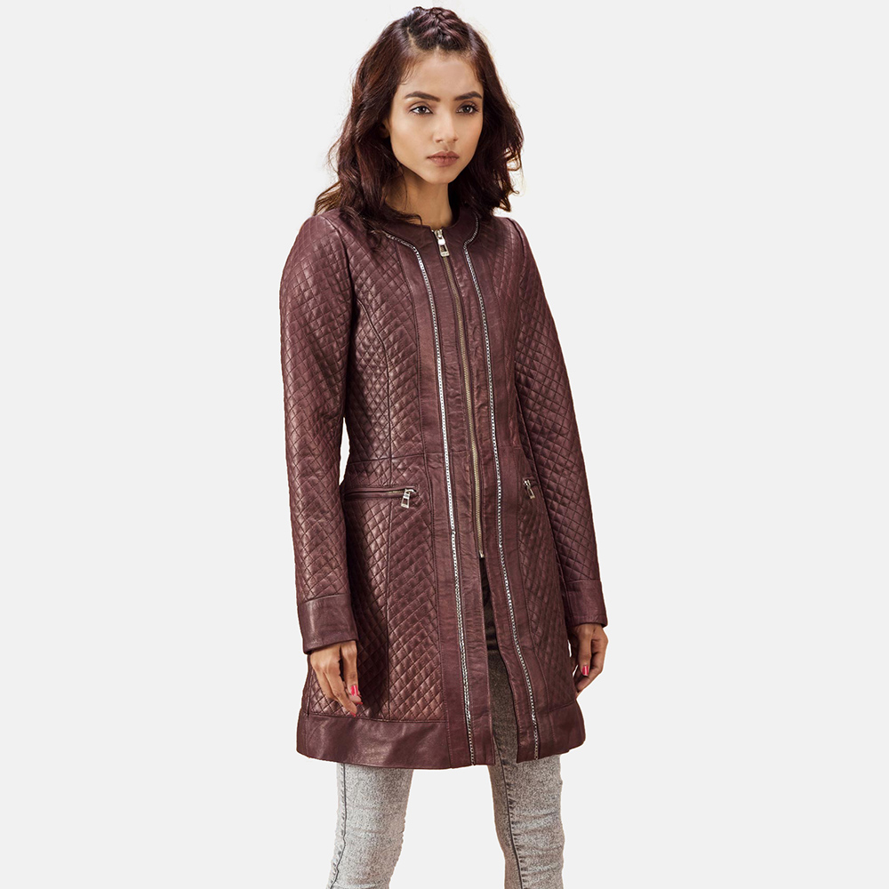 Quilted Maroon Leather Coat for Women