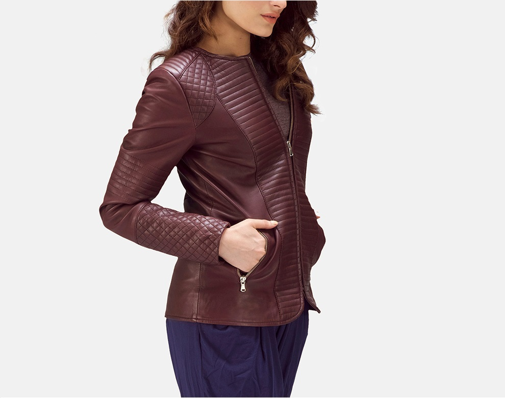 Quilted Maroon Leather Jacket for Women