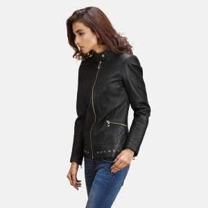 Ray Black Leather Biker Jacket for Women